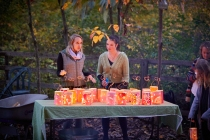 sarah and hillary lighting lanterns